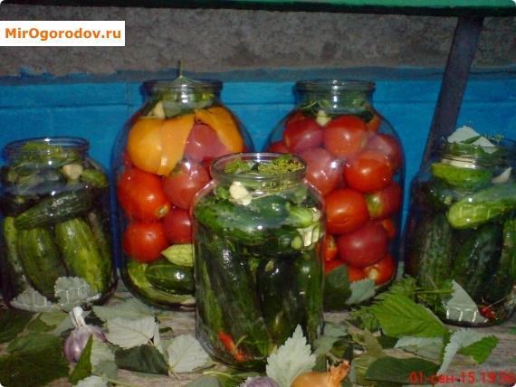 Консервированные помидоры и огурцы
